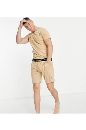 Lyle & Scott Larry taped t-shirt & shorts set in stone-Neutral