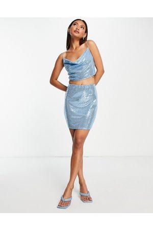 Flounce London Sequin mini skirt co-ord in blue