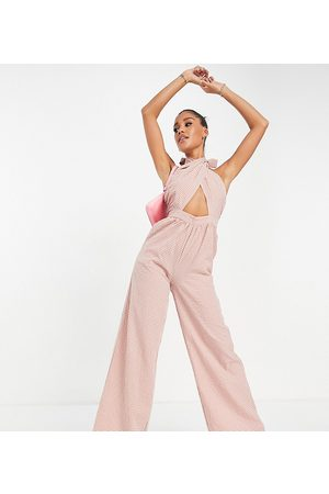 Missguided Wide leg wrap jumpsuit with tie neck in rose-Pink