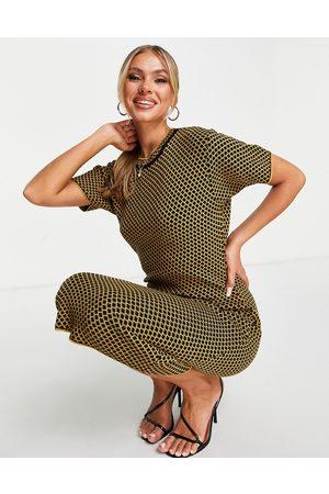 Fashionkilla Knitted cap sleeve midi dress in yellow geo print