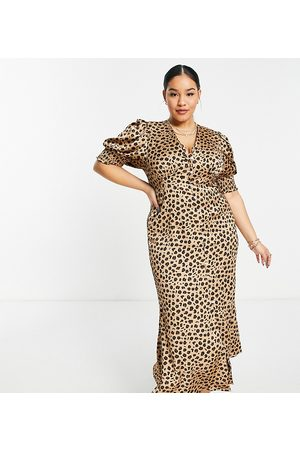 Never Fully Dressed Lindos button maxi dress in leopard print-Brown