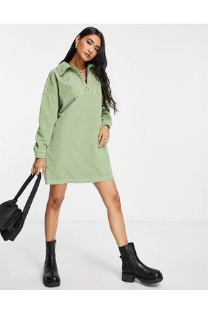 ASOS Cord half zip sweater dress in green