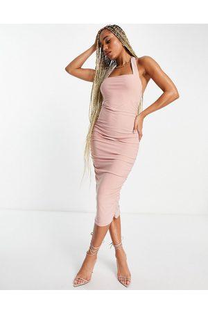 ASOS Ruched bustier halter midi dress in blush-Multi