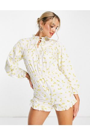 Glamorous Long sleeve playsuit in yellow floral