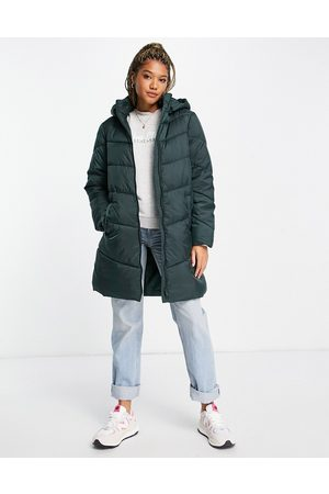 VILA Recycled blend padded coat with hood in green