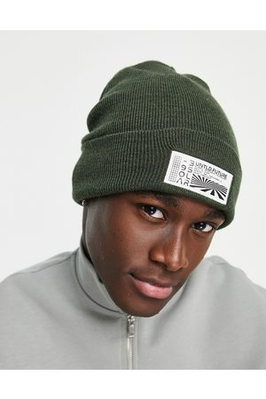 Topman Untitled skater beanie in recycled polyester blend in khaki-Green
