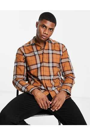 Twisted Tailor Long sleeve flannel shirt in brown check