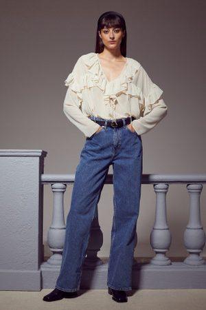 H&M Mulher Blusas - Blusa com folhos em chiffon