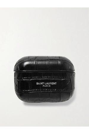 Saint Laurent Homem Cintos - Logo-Print Croc-Effect Leather AirPods Pro Case
