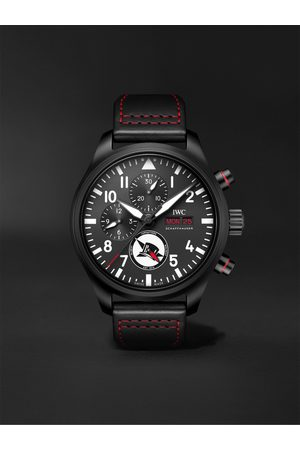 IWC SCHAFFHAUSEN Pilot's Tophatter Automatic Chronograph 44.5mm Ceramic and Leather Watch, Ref. No. IW389108