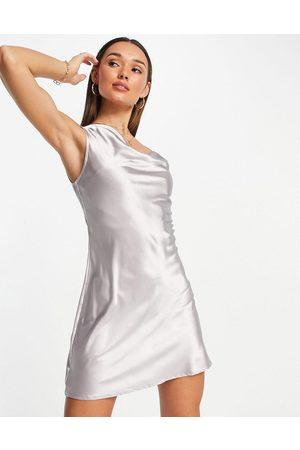 Flounce London Satin mini cami dress with asymmetric strap detail-Silver