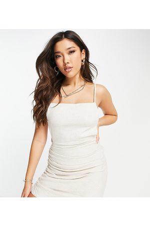 AsYou Asymmetric hem single strap mini dress in ecru-Blue