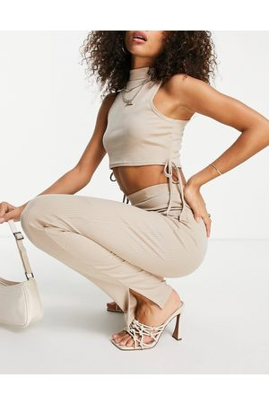 I saw it first Mulher Calças Justas - Rib tie side crop top & trousers in stone-Neutral