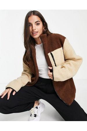 Daisy Street Mulher Camisolas com capuz - Boxy fit colour block fleece-Brown