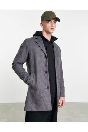 JACK & JONES Homem Casacos - Originals wool mix overcoat in light grey