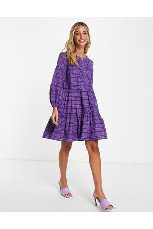 French Connection Mulher Vestidos de Festa - Check mini dress in purple