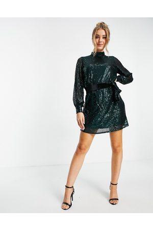 Style Cheat Tie waist sequin mini dress in emerald green