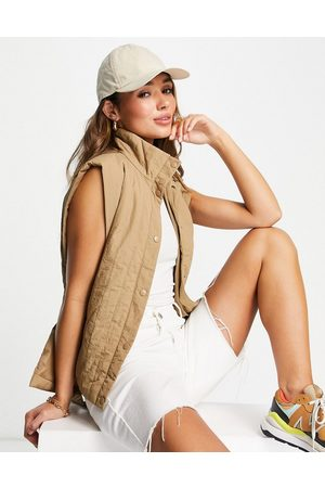 VERO MODA Mulher Casacos de Inverno - FRSH belted padded gilet in beige-Neutral
