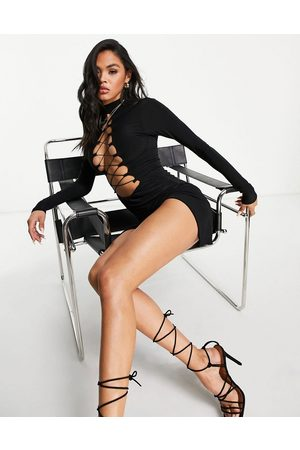 Missyempire Exclusive long sleeve lace up front detail slinky dress in black