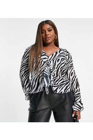 ASOS Mulher Blusas - ASOS DESIGN Curve 90's ruffle edge blouse with tie front in mono animal-Multi