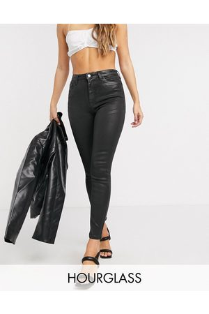 ASOS Mulher Skinny - High rise 'lift and contour' skinny jeans in coated black