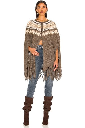 AUTUMN CASHMERE Fair Isle Pointelle Fringe Poncho in - Taupe. Size all.