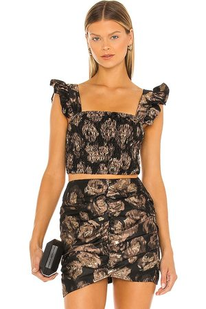 MISA Abelia Top in - Black,Taupe. Size L (also in M, S, XS).