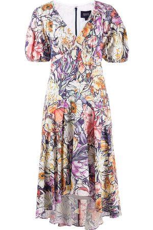 Marchesa Notte Floral-print short-sleeve dress