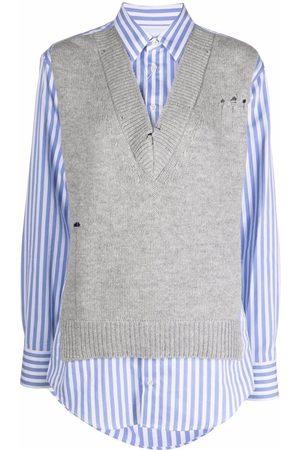 Maison Margiela Distressed knitted-vest layered shirt