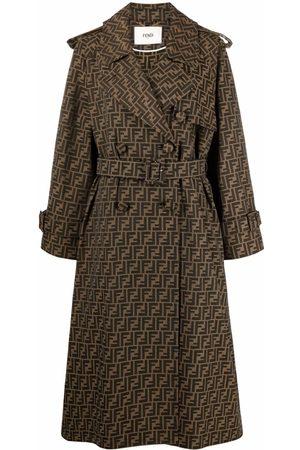 Fendi Mulher Casacos de Inverno - FF-logo print coat