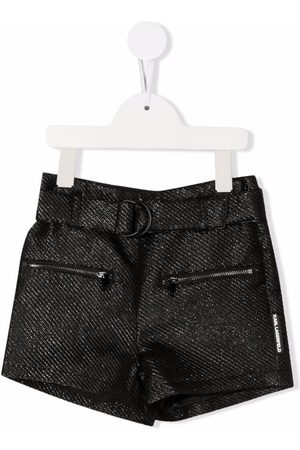 Karl Lagerfeld Metallic belted high-waisted shorts