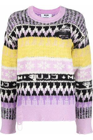 Msgm Distressed intarsia knit jumper