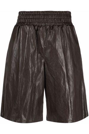 Pinko Faux-leather bermuda shorts