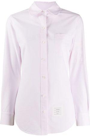 Thom Browne Mulher Camisas - 4-Bar round collar Oxford shirt