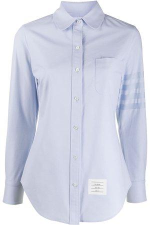 Thom Browne 4-Bar round collar Oxford shirt