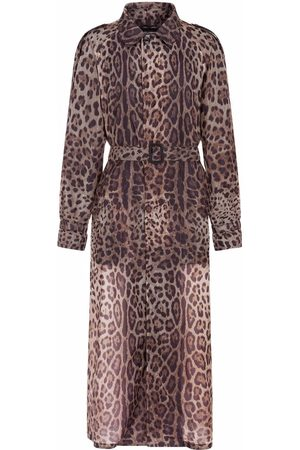 Dolce & Gabbana Leopard-print belted long trench coat