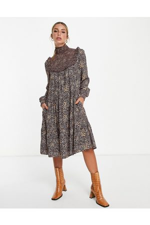 French Connection Mulher Vestidos Casual - Printed midi dress in brown