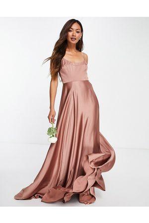 ASOS Mulher Vestidos de Festa - Satin cami maxi dress with square neck in cinnamon rose-Copper