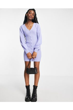 In The Style Mulher Vestidos Casual - X Billie Faiers knitted button through long sleeve dress in blue