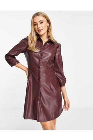 Nobody's Child Mulher Vestidos Casual - Faux leather mini shirt dress in blackcurrant-Purple