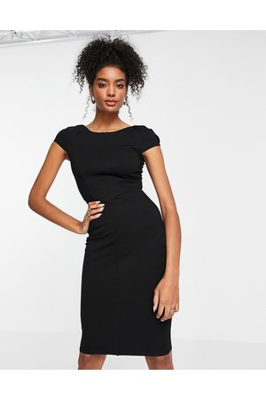 Closet Puff shoulder pencil dress with bodice detail in black