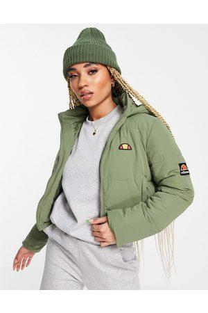 Ellesse Cropped puffer jacket in khaki-Green