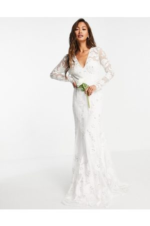 ASOS Ivy plunge wedding dress with long sleeve in floral embellishment-White