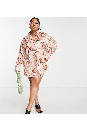 PUBLIC Oversized satin shirt dress in brown marble-Multi