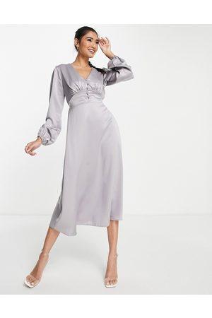 Flounce London Buttoned midi dress in grey satin-Green