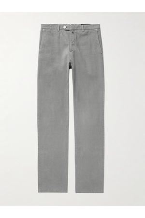 Kiton Straight-Leg Stretch-Cotton Twill Trousers