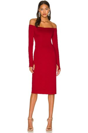 ALICE+OLIVIA Dorinda Off The Shoulder Fitted Midi Dress in - Red. Size 0 (also in 2, 4, 6).