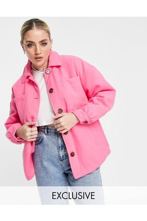 Reclaimed Mulher Casacos - Inspired shacket in pink