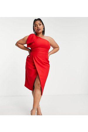 Lavish Alice Mulher Vestidos de Festa - Bow shoulder wrap midi dress in red