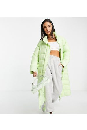 Native Youth Mulher Casacos de Inverno - Oversized longline padded coat in pastel-Green